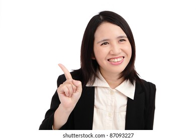 Business asian woman points finger
