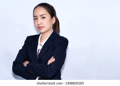business asian woman in smart business white background or business concept