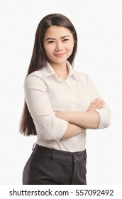 Business  Asian woman smiling portrait. Looking ahead.