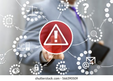 Business attention mark with triangle icon web internet communication risk safety security concept