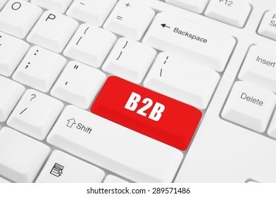 business to business, B2B button on white computer keyboard