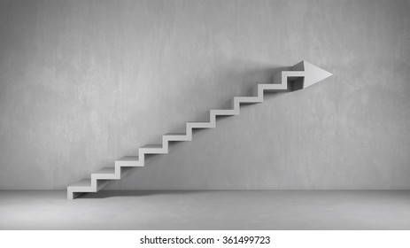Business background with arrow stairs as concept for growth (3D Rendering)