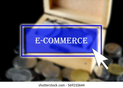 Business background with blue button, mouse icon and text written E-commerce
