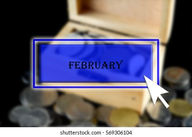 Business background with blue button, mouse icon and text written February