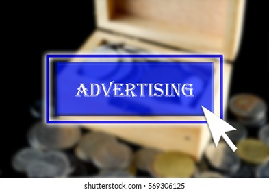 Business background with blue button, mouse icon and text written Advertising