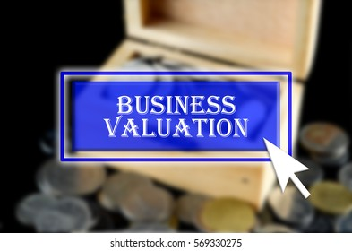 Business background with blue button, mouse icon and text written Business Valuation