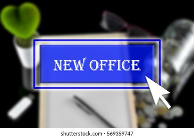 Business background with blue button, mouse icon and text written New Office