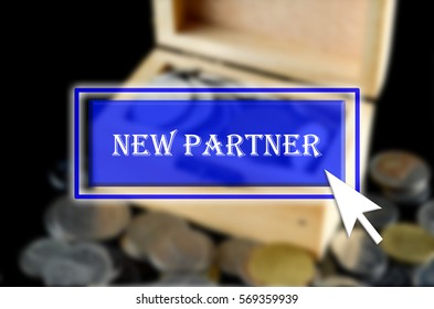 Business background with blue button, mouse icon and text written New Partner
