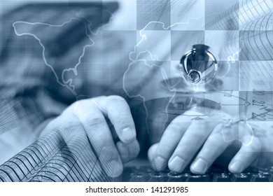Business background in blues with hands, keyboard and map.