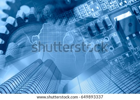 business background blues map buildings electronic stock photo edit