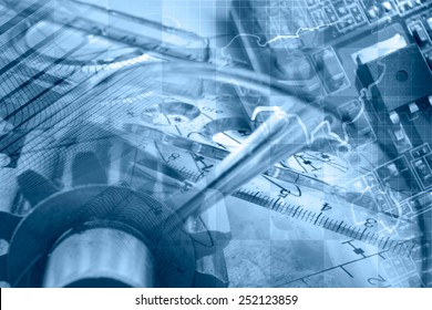 Business background in blues with map, gears and electronic device.