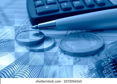 Business background in blues with money, calculator and pen.