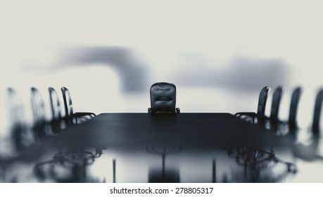 Business background concept of a view on a boss chair by conference table in an abstract white scenery. Camera focus on a boss chair.