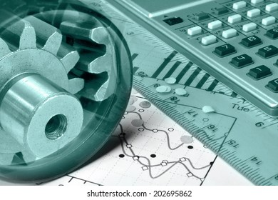Business background in greens with calculator, gears and graph.