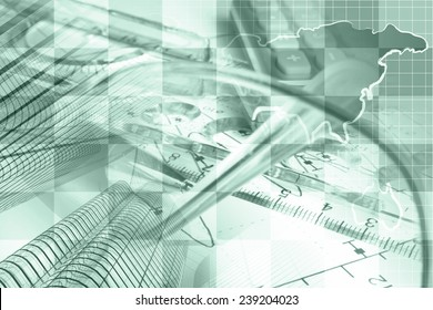 Business background in greens with map, buildings and pen.