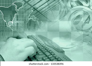 Business background with hands, keyboard and mail signs, in greens.