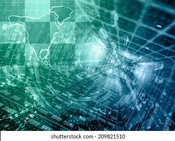 Business background with map and digits, in greens and blues.