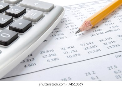Business background, market analysis concept with financial data, pencil and calculator