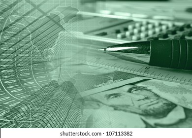 Business background with money, ruler, pen and calculator, greens.