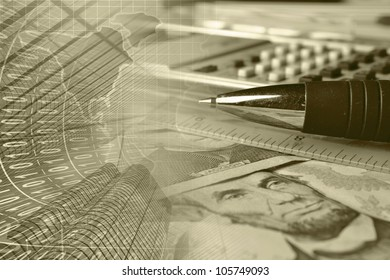 Business background in sepia with money, ruler, pen and calculator.