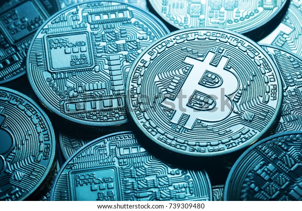 Business background from virtual bitcoin currency. Toning. The concept of virtual money and crypto currency.
