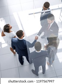 business background.handshake business men in the business center