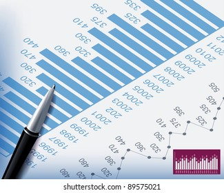 Business backgrounds graphs and stationary pen , Raster version - Vector version is also available.
