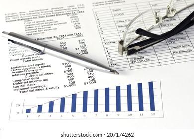 business balance, income statement financial analyze