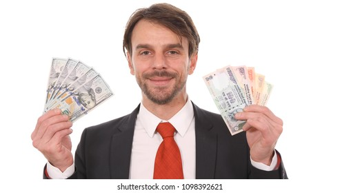 Business or Banker Man Showing Indian Rupee Notes Vs Usd Bill Cash Money Foreign Exchange Rate Concept