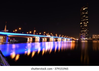 Business Bay Bridge and walk at night with long exposure, Dubai, UAE