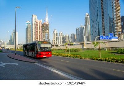 Business bay, Dubai, United Arab Emirates, 12/29/2017, Dubai RTA Bus Passed Through Sheikh Zayed Road