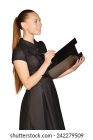Business beautiful girl holding paper holder and a ballpoint pen