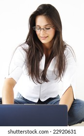 Business Beautiful Girl working on laptop.