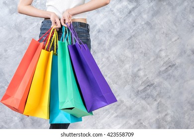 Business, beautiful woman with shopping bags, sale and business concept, soft focus
