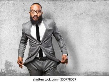 business black man poor gesture
