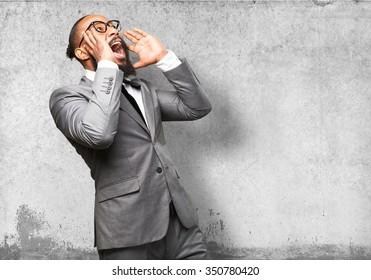 business black man shouting