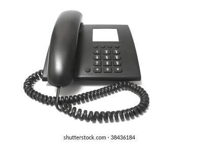 business black phone isolated on white background