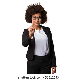 business black woman doing number one gesture