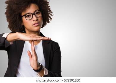 business black woman doing time break gesture