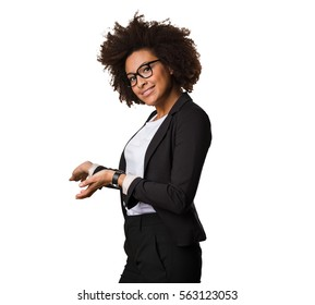 business black woman doing welcome gesture