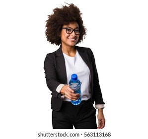 business black woman holding a bottle of water
