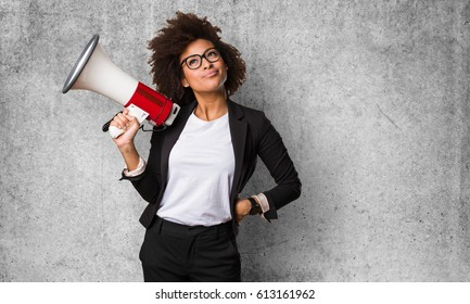 business black woman holding a megaphone