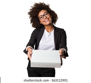 business black woman holding a white box