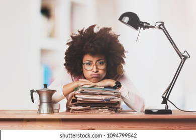 Business black woman very busy working in the office
