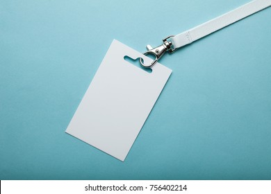 Business blank ID tag or name card on a lanyard at an exhibition or conference. Mock up.
