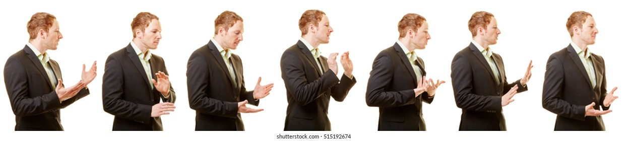 Business body language and gestures of a man with a suit