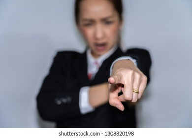 business boss woman in emotional angry by hand appoint with white background or business concept