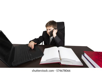 business boy with book and laptop