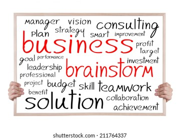 business and brainstorm  and other related words handwritten on whiteboard with hands