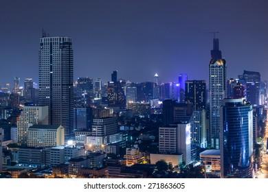 Business Building Bangkok city area at twilight scene, high angle bird eyes view